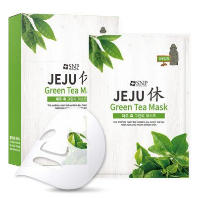Mặt Nạ Dưỡng Da SNP Jeju Green Tea Mask Trà Xanh Phục Hồi Làm Dịu Da Nhạy Cảm